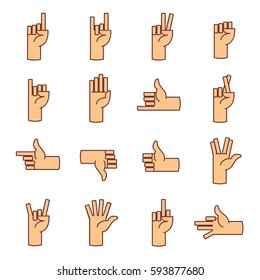Gestures of hands icons line. Thumbs up, like, rock, stop, palm, and other signs of the fingers. Different gestures emotions and fine lines signs icons.