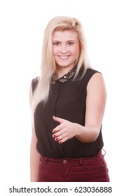 Gestures, meeting people, casual business relations concept. Blonde attractive woman with open hand ready for handshake.