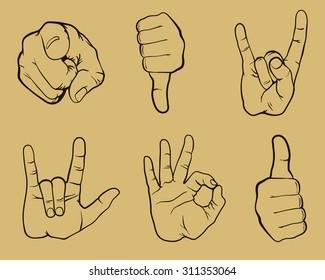 gestures set, hands set,  gestures design