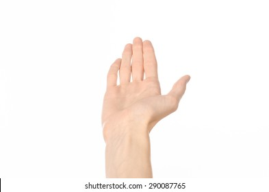 Gestures topic: human hand gestures showing first-person view isolated on white background in studio