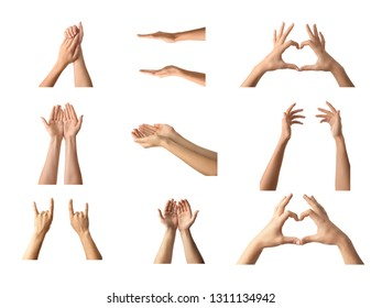 Gesturing female and male hands on white background