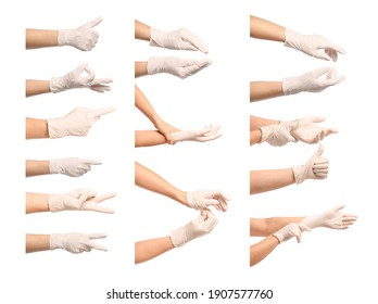 Gesturing hands in protective medical gloves on white background