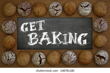 Get baking chalkboard, wooden frame with chocolate and hazelnut cookies