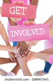 Get Involved Text and Hands holding card with hands together in a circle