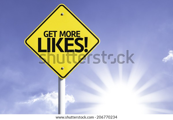 Get More Likes! road sign with sun background
