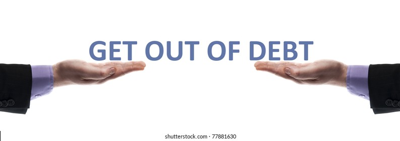 Get out of debt message in male hands