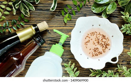 get rid of the kitchen midge. recipe home traps. add wine or wine vinegar in a bowl and a few drops of soap. set instead of clusters.