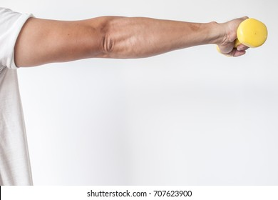 Get start shoulder and arm fitness with yellow small dumbbells on white background