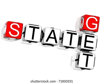 Get State Crossword on white background