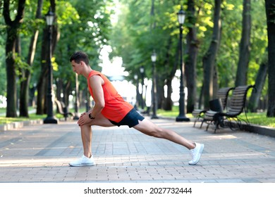 Get warmed up before workout. Man take warmup. Sportsman hold lunge position. Warmup exercises