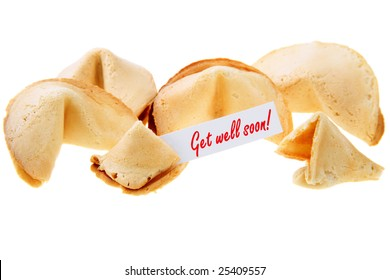 GET WELL SOON! - backlit fortune cookies over white