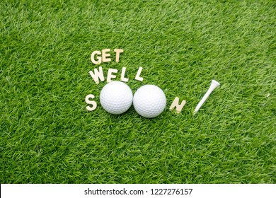 Get well soon to golfer with golf ball and tee on green grass