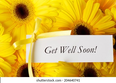 Get Well Soon message card with yellow gerberas