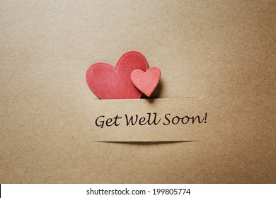 Get Well Soon message with red paper hearts