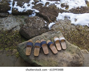 Geta, Japanese sandals, and melting snow in Gero, central Japan - spring is just around the corner