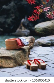 Geta sandals in open air bath, Japanese Style