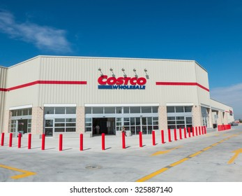 GETAFE, MADRID, SPAIN - OCTOBER 10, 2015: Costco Wholesale storefront in Getafe, Madrid, Spain. Costco operates a chain of warehouses, and this store is the second in Spain and Europe after Seville