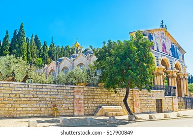 The Gethsemane Garden is adjacent to the All Nations Church, Jerusalem, Israel.