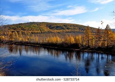 Getkan river in autumn. Amur region. Russia.