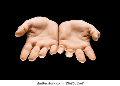 Getting an answer. Male hands demonstrating a request gesture or question sign isolated on black studio background. Concept of human relations, relationship, phycology or business.
