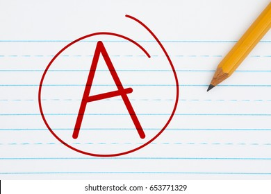 Getting a grade A, Retro lined paper with a pencil with text A and a circle in red