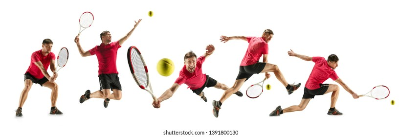 Getting higher. Caucasian young tennis player of red team in action and moving over white studio background. Concept of sport, movement, energy and dynamic, healthy lifestyle. Creative collage.