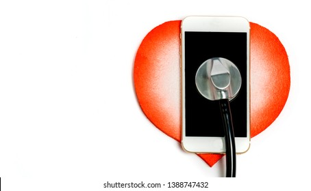 getting more and dangerous love  with stethoscope white background-Red decorative heart with stethoscope on white background. Idea illustration of  love passion for dangerous couple.