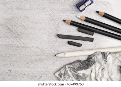 Getting ready to paint a charcoal artwork