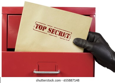 Getting top secret documents from a red file cabinet, over a white background.