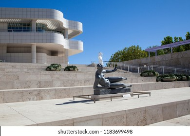 Getty Center, Los Angeles, California - September 2018. The front steps of the Getty Center and Art Museum.