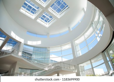 Getty Center, Los Angeles, California - September 2018. Looking up to the glass and architectural ceiling of the Getty Center Museum lobby.