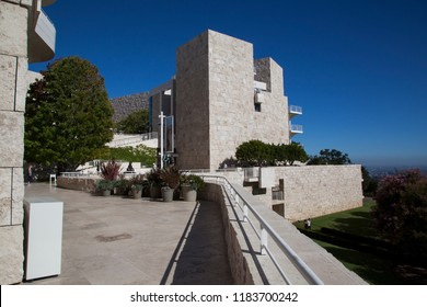 Getty Center, Los Angeles, California - September 2018. Views of Los Angeles from the buildings of the Getty Center Museum and Garden on a beautiful sunny afternoon.