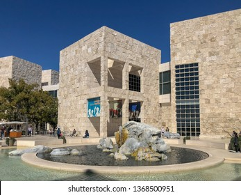 The Getty Center museum in Los Angeles California USA was designed by architect Richard Meier in 1997. Famous tourist attraction, California. USA. The J. Paul Getty Museum, art museum. 02/22/2019