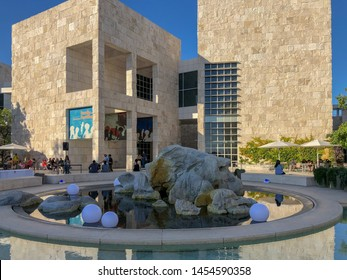 The Getty Center museum in Los Angeles California USA was designed by architect Richard Meier in 1997. Famous tourist attraction, California. USA. The J. Paul Getty Museum, art museum. 07/13/2019