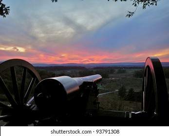 Gettysburg: Cannon on Little Round Top at sunset