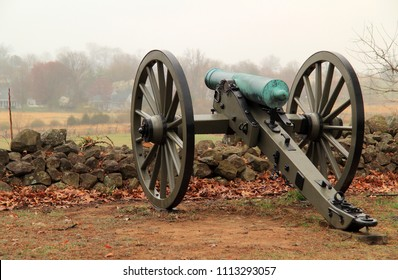 GETTYSBURG, PA – APRIL 15:  Artillery on Seminary Ridge in Gettysburg National Military Park marks positions held by Confederates during the Battle of Gettysburg April 15, 2018 in Gettysburg, PA