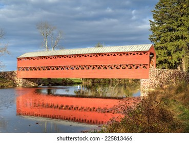 GETTYSBURG, PA - OCT 18: Sachs Covered Bridge as seen in the Fall on Oct 18, 2014 in Gettysburg, Pennsylvania.