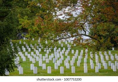 GETTYSBURG, PA - OCTOBER 9 : Tombstones of WWII veterans at the Gettysburg National Cemetery in Gettysburg, Pennsylvania on October 9, 2017.