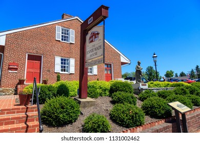 Gettysburg, PA, USA - July 7, 2018: The house where the only Gettysburg resident was killed by a stray bullet has become a popular tourist attraction and museum and is called the Jennie Wade House.