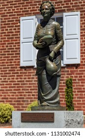 Gettysburg, PA, USA - July 7, 2018: The statue of the only Gettysburg resident killed by a stray bullet during the battle at the museum known as the Jennie Wade House.