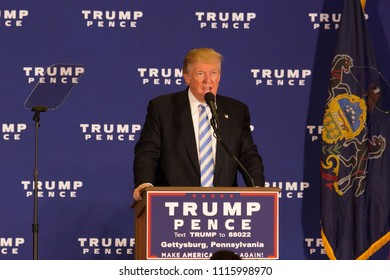 Gettysburg, PA, USA - October 22, 2016: Presidential candidate Donald Trump promising that he will 'drain the swamp' in Washington.