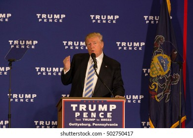 Gettysburg, PA, USA - October 22, 2016: Presidential candidate Donald Trump promises the repeal of ObamaCare in his â??First 100 days' agenda during a media event in Gettysburg.