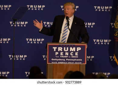 Gettysburg, PA, USA - October 22, 2016: Presidential candidate Donald Trump brings his campaign battle to Gettysburg by announcing 'First 100 days' agenda and promises of legislation.