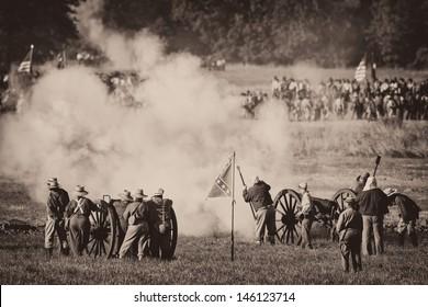 GETTYSBURG, PENNSYLVANIA - JULY 6: Reenactment of the 150th anniversary of the Civil War battles at Gettysburg on July 6, 2013 in Gettysburg, Pennsylvania
