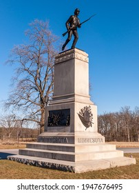 Gettysburg, Pennsylvania, USA March 14, 2021 The 1st Minnesota Volunteer Infantry Regiment monument on Hancock Avenue at Gettysburg National Military Park on a sunny spring day