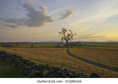 Gettysburg at Sunset. This is Cemetery Hill where Picket's Charge occurred on the final day of battle.