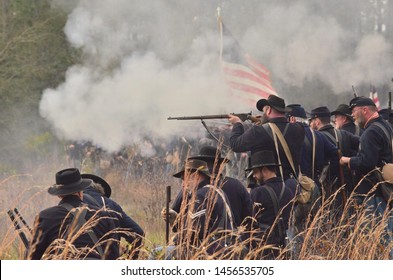 Gettysburg,Pennsylvania /USA- 07/19/2019  photo of people participate as a hobby in American Civil War reenactment