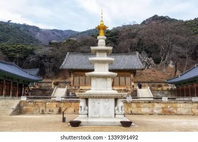 geumggangbotap pagoda and daeungjeon in sudeoksa temple in yesan, south korea. Taken on february 22 2019