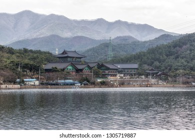 Geumpyeong Reservoir temples and surrounding trail and nature. Geumpyeong reservoir is located in Gimje, Jeollabukdo province, South Korea