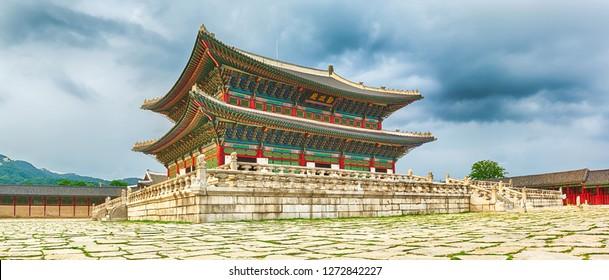 Geunjeongjeon, the main throne hall. Gyeongbokgung Palace. Seoul. South Korea. Panorama